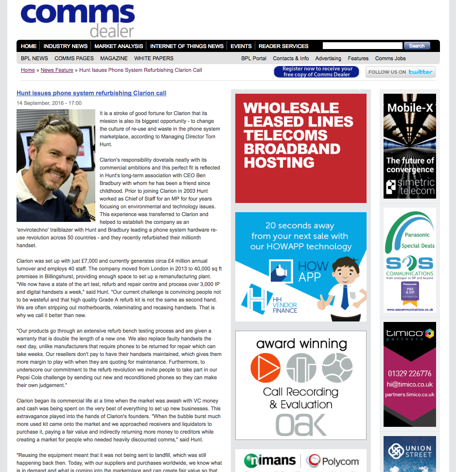 Tom Hunt Clarion Communication Systems